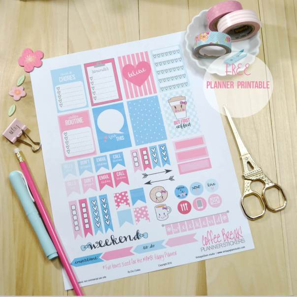 Coffee- Break Planner Stickers | Free printable, for personal use only.