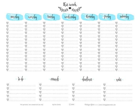 Free printable - Doodled weekly planner sheet, blue