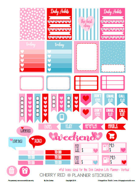 Cherry Red Planner Stickers | Free printable download, for personal use only
