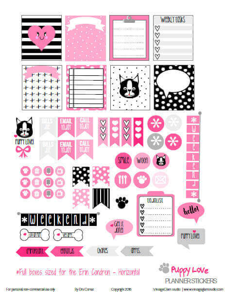 Puppy Love Planner Stickers | Free Printable