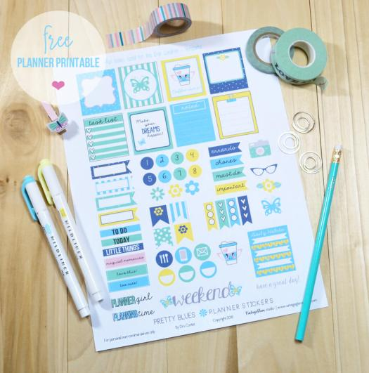 Pretty Blues planner stickers layout