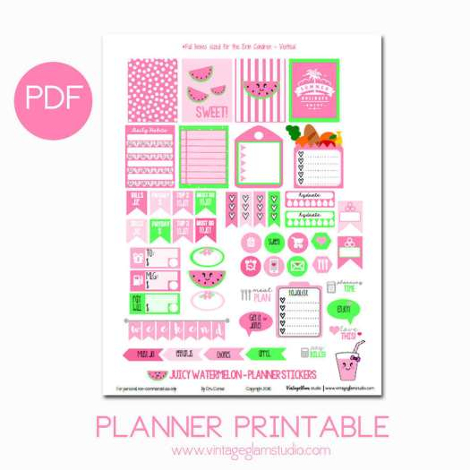 Juicy Watermelon Planner Stickers | free for personal use only