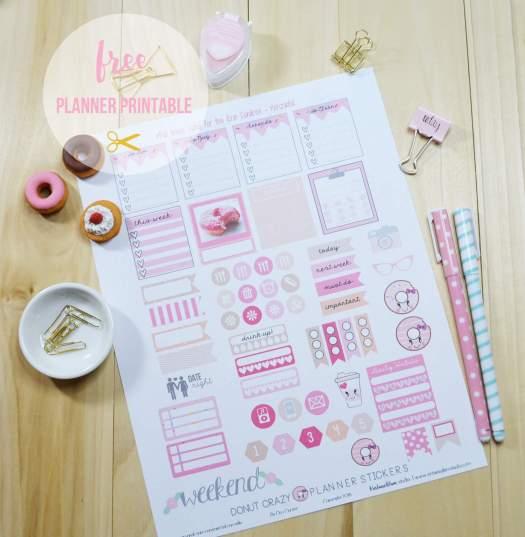 donut planner stickers print sample