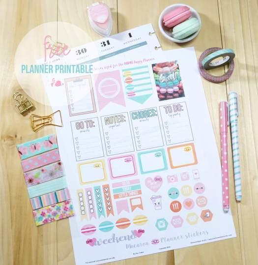 Macaron planner stickers print sample