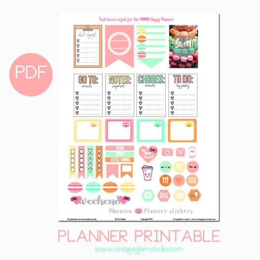 Macaron planner stickers preview