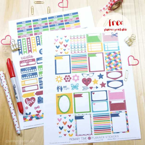 Free colorful planner stickers printable, for personal use only.