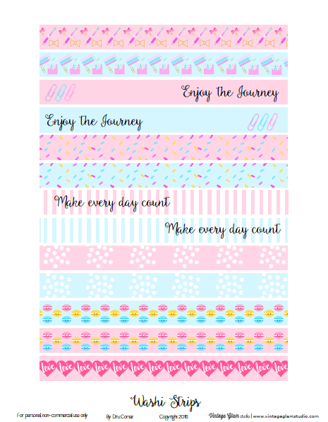 Washi tape strips planner sticker printable