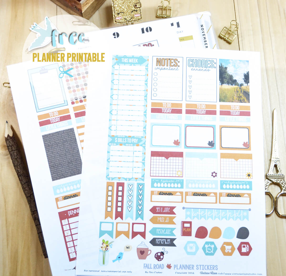 fall planner stickers print sample