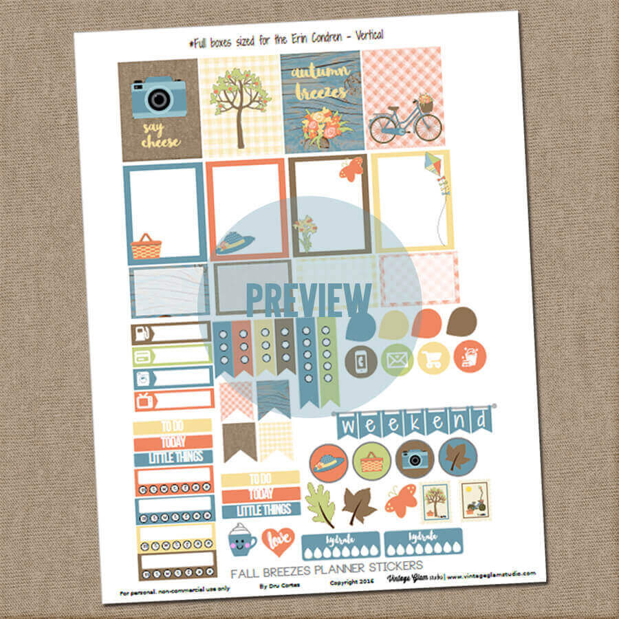 fall planner stickers preview