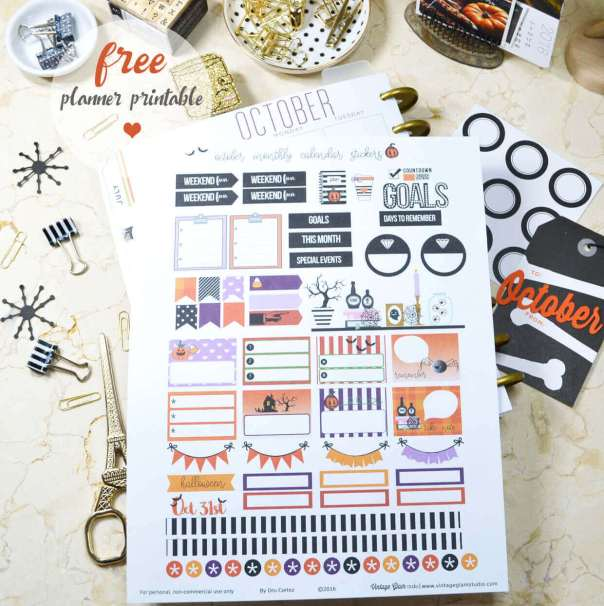 October Monthly Planner Stickers | Free printable, for personal use only.