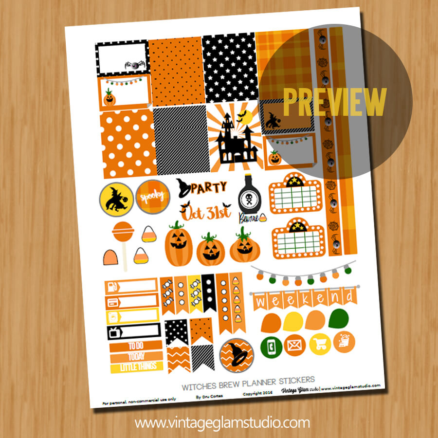 halloween planner stickers preview