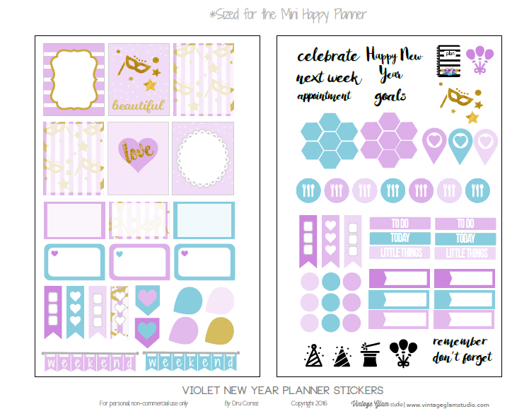 Mini Happy Planner Violet Planner Stickers