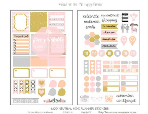 Mod Neutral Planner Stickers | Mini Happy Planner, free printable, for personal use only