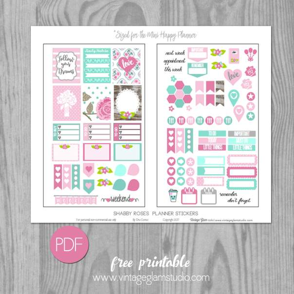 Shabby Roses Planner Stickers | Free Printable