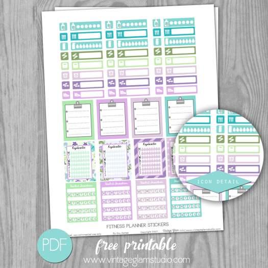 Fitness Planner Stickers Free Printable Vintage Glam Studio