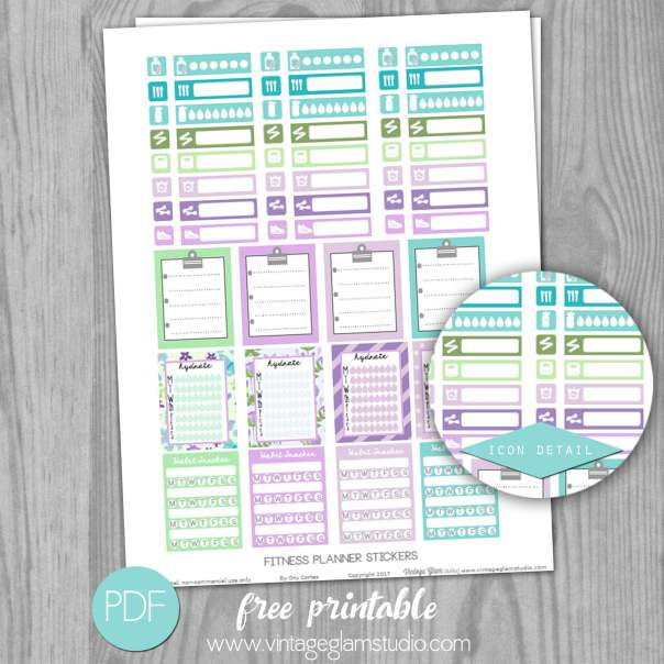 Fitness Planner Stickers | Free printable - Vintage Glam Studio