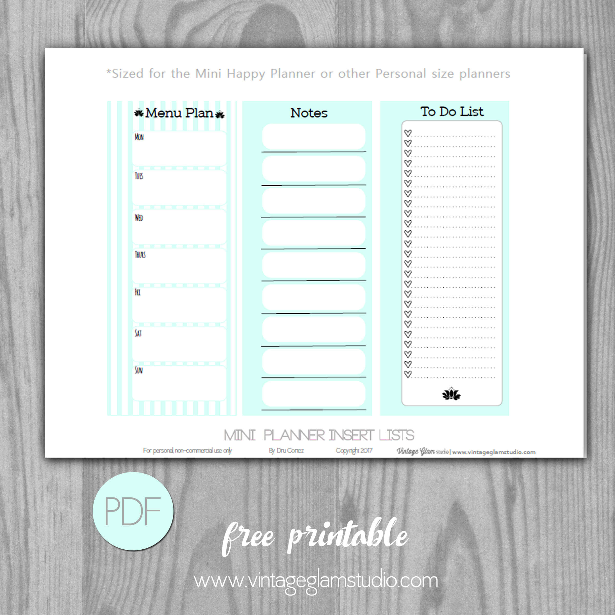 Mini Happy Planner - Checklist Inserts - Vintage Glam Studio