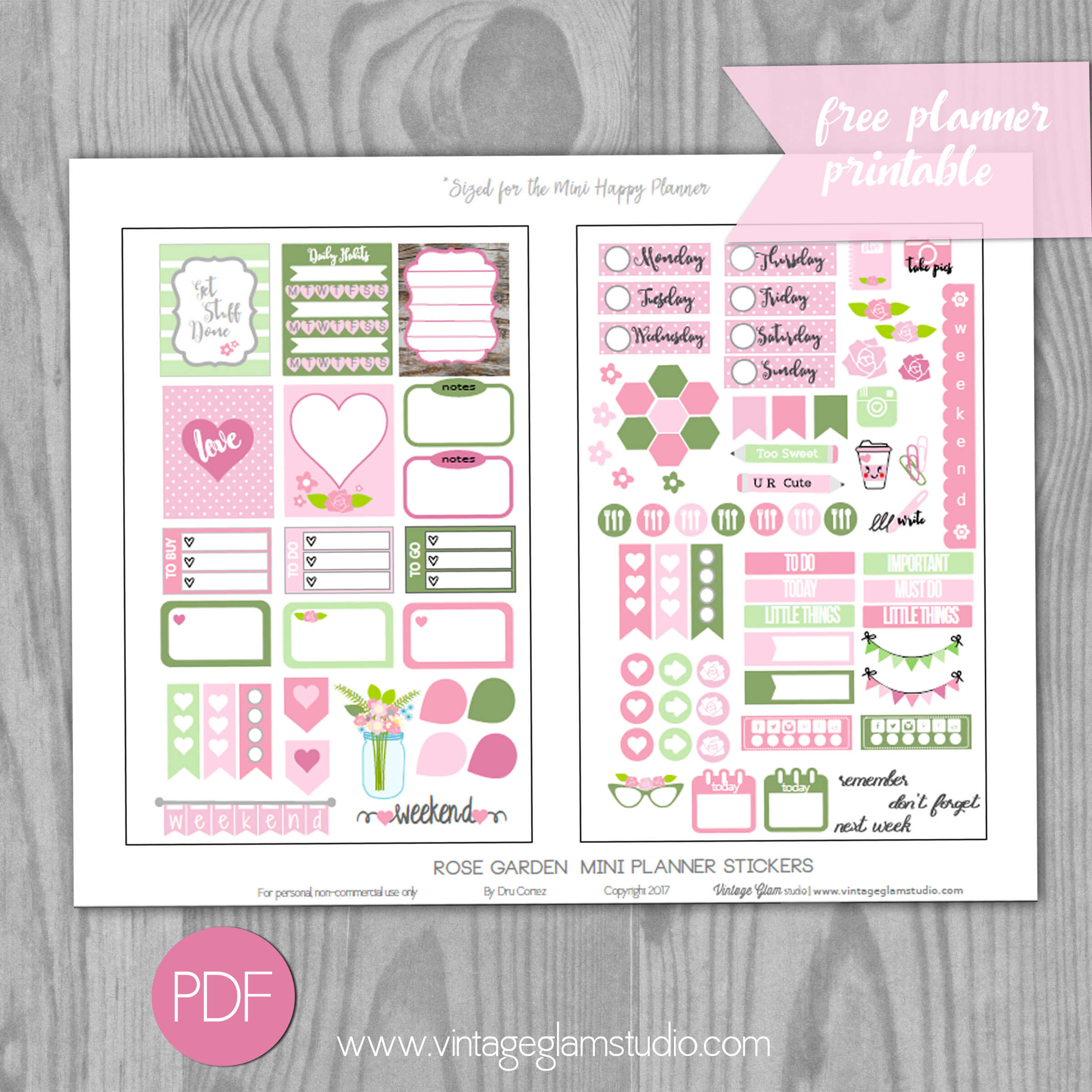 image regarding Free Printable Garden Planner referred to as Mini Delighted Planner - Rose Yard Planner Stickers - Typical