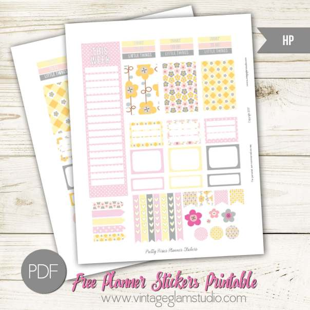 Pretty Posies Planner Stickers | Free printable for the Mambi Happy Planner