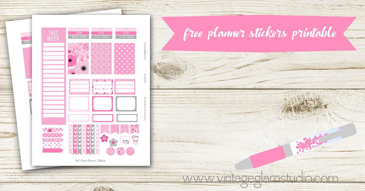 Pink Posies Planner Stickers Free Printable
