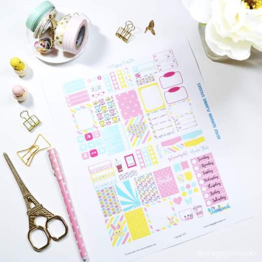 mini happy planner layout, Retro Sunshine