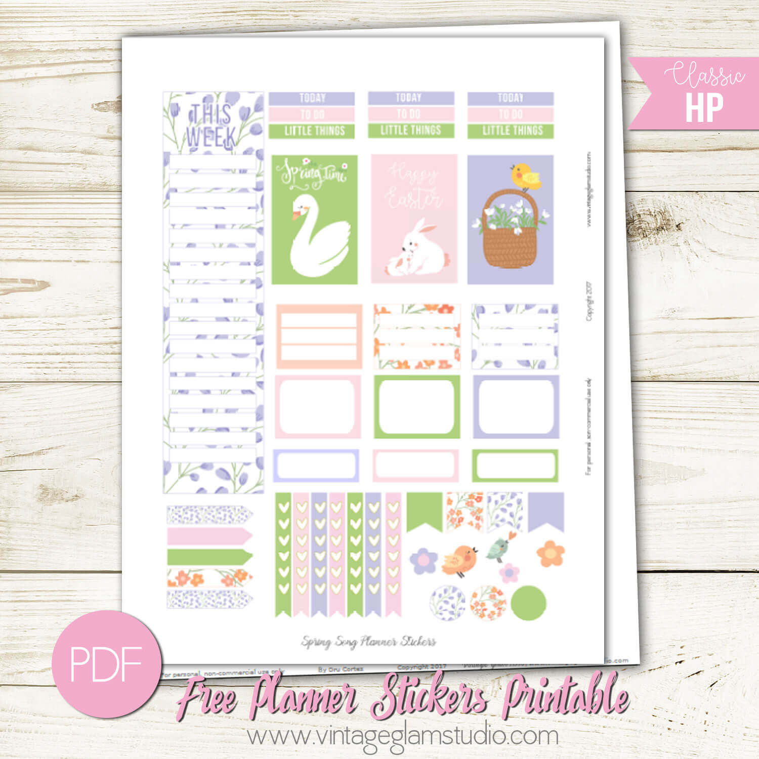 Spring Song Planner Stickers Free Printable
