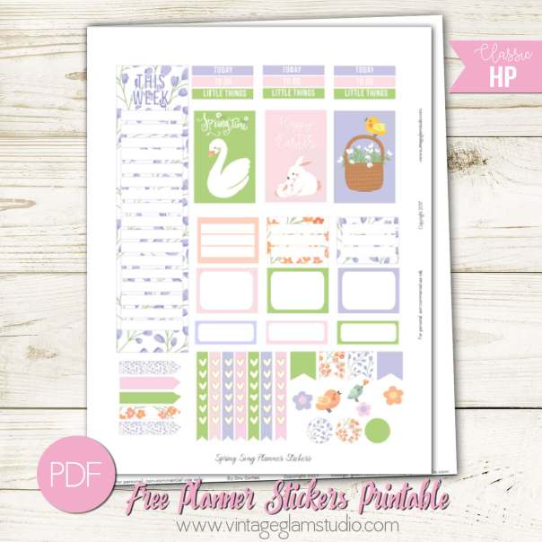 Spring Song Planner Stickers