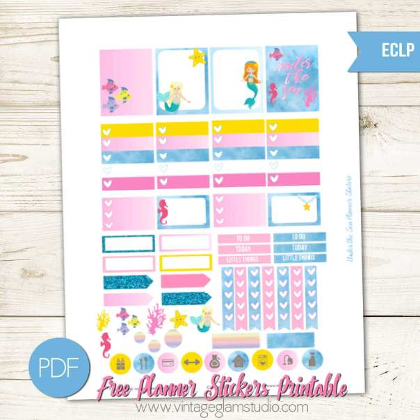 Under The Sea Planner Stickers   Free Printable, for personal use only