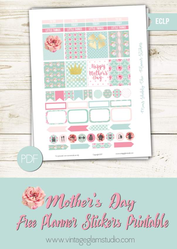Mom's Shabby Chic Planner Stickers | Free printable