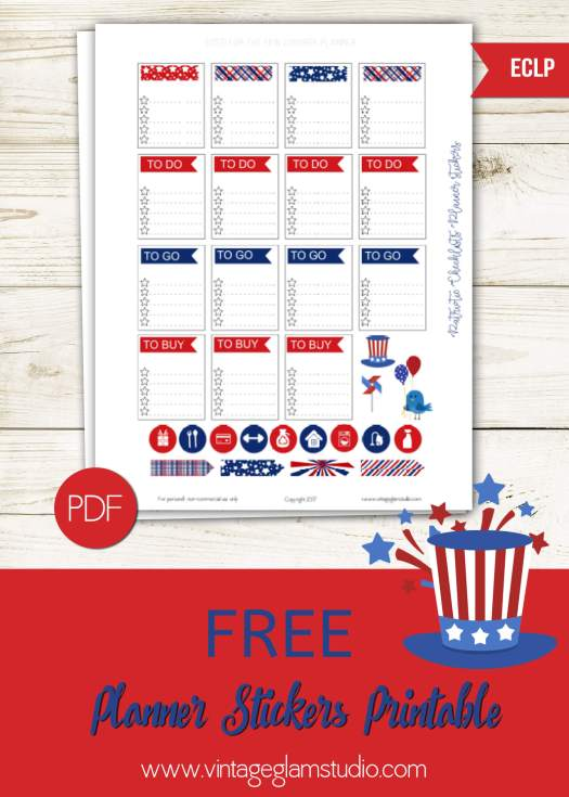 Patriotic planner stickers printable, free for personal use only