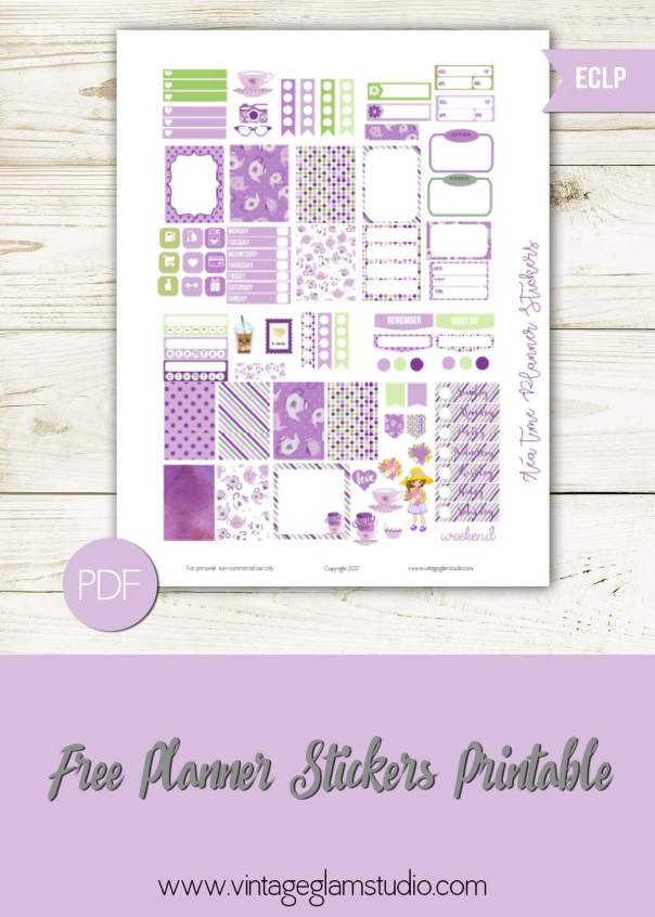 Mini Happy Planner | Tea Time Planner Stickers printable