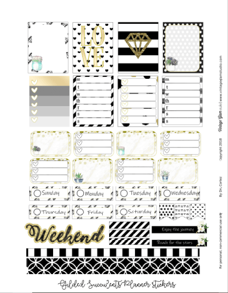 Gilded Succulents | planner stickers preview