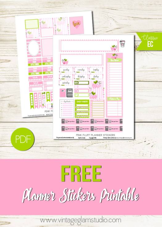 Pink Fluff Planner Stickers| Free printable for personal use only