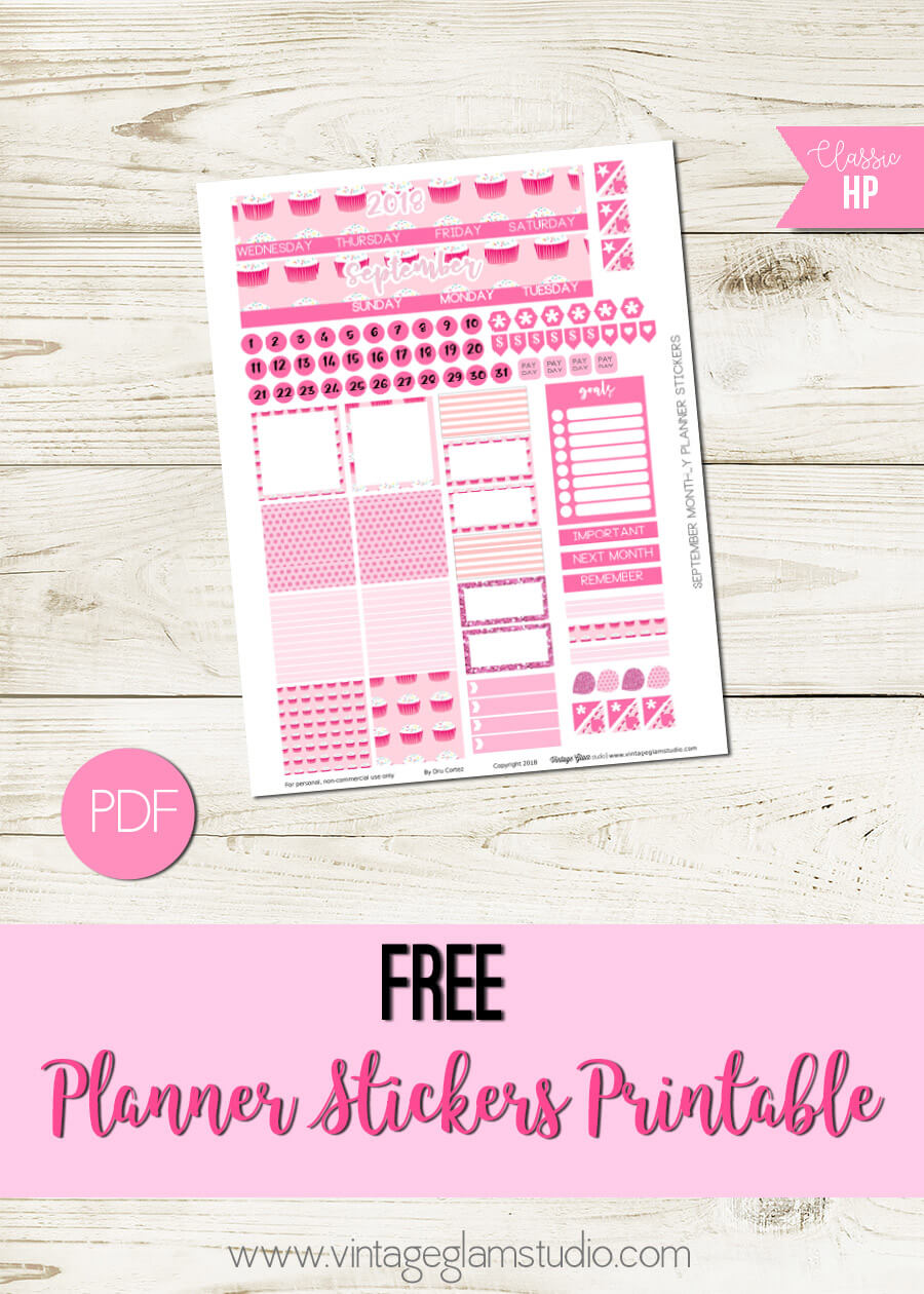 graphic about Happy Planner Monthly Layout Printable called September Month-to-month Design - Delighted Planner - Traditional Glam Studio