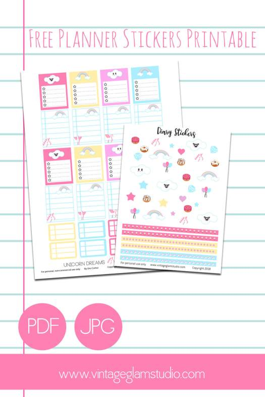 Unicorn Dreams | Planner stickers printable, free for personal use only