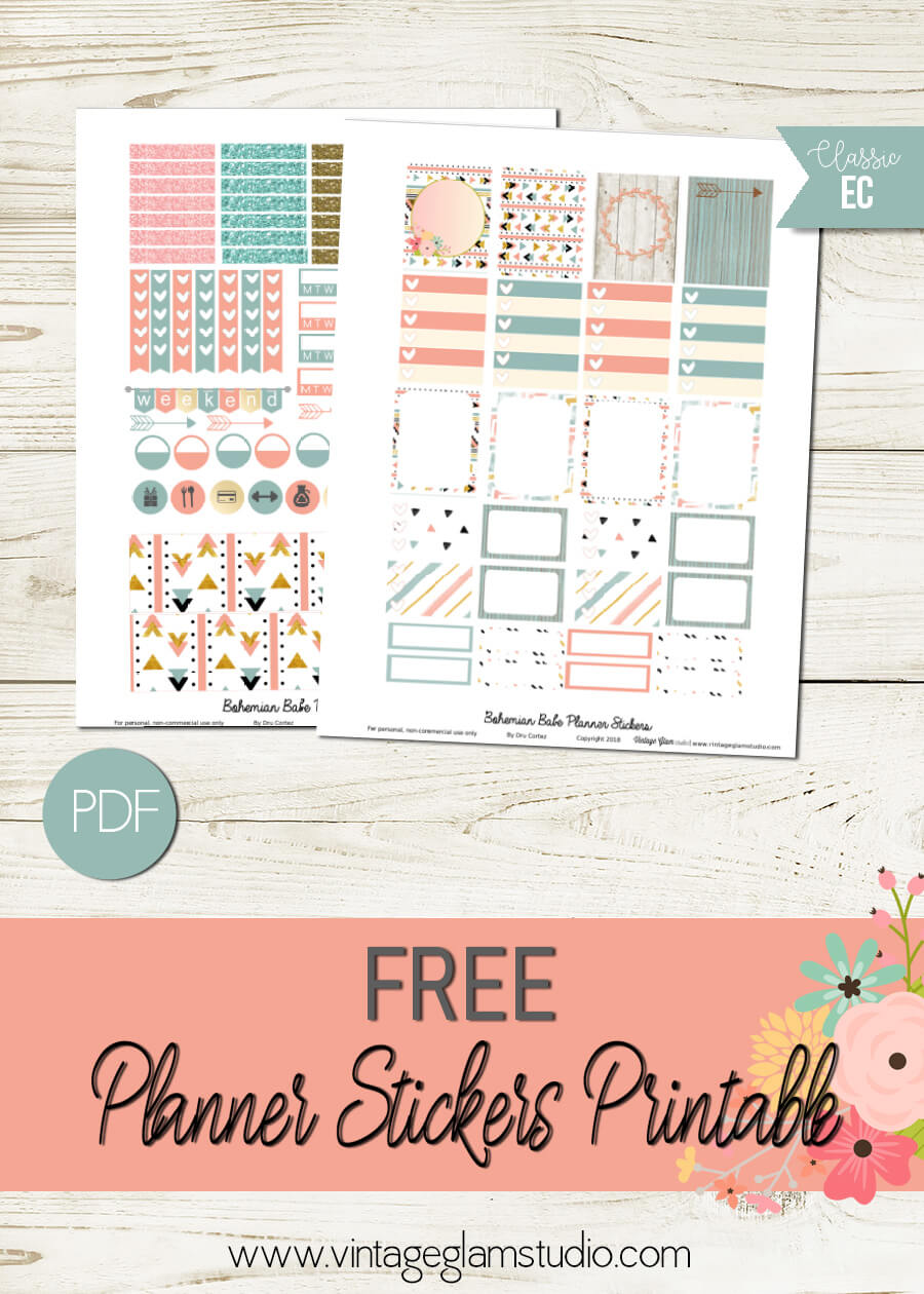 Bohemian Babe | Free planner stickers printable