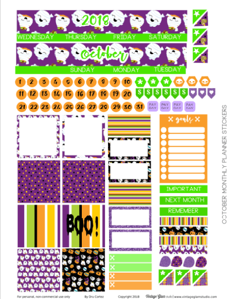 Oct Monthly planner stickers