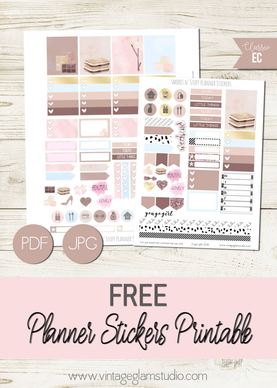 Smores N' Stuff   Free planner stickers printable, for personal use only