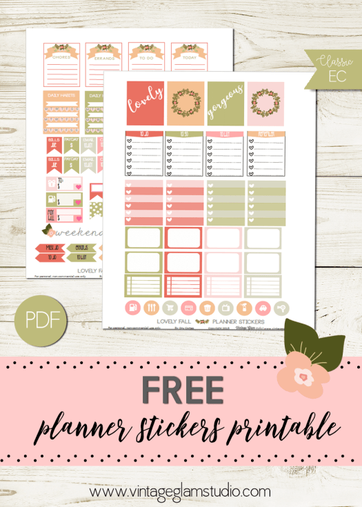 Lovely Floral | Planner stickers printable, free for personal use only