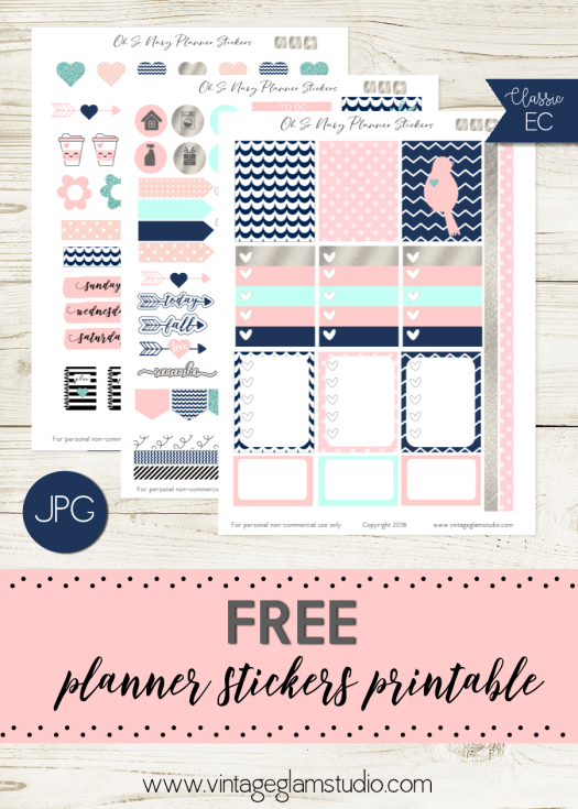 Oh So Navy | free planner stickers printable