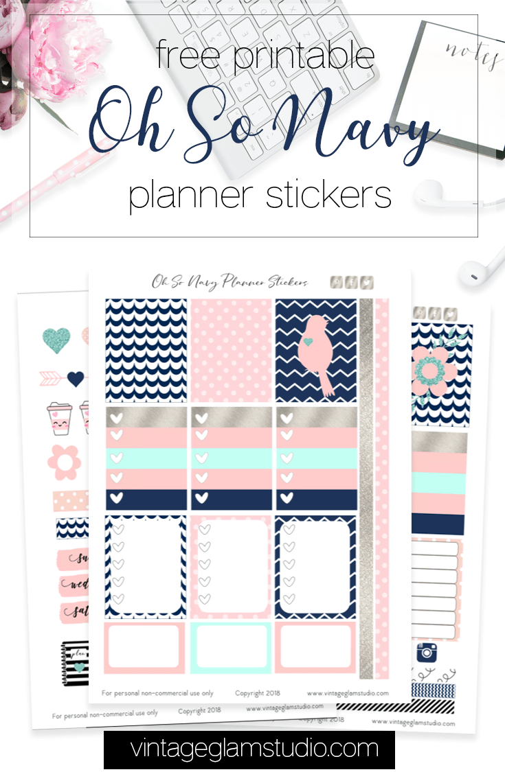 Oh So Navy planner stickers printable
