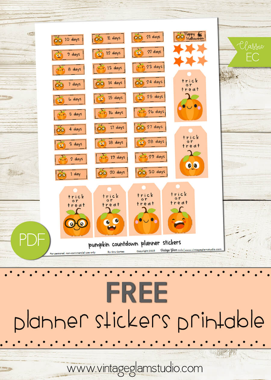 Pumpkin Countdown Stickers