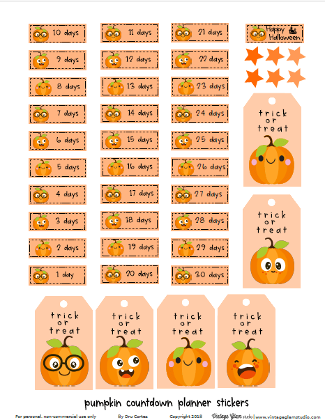 pumpkin countdown planner stickers
