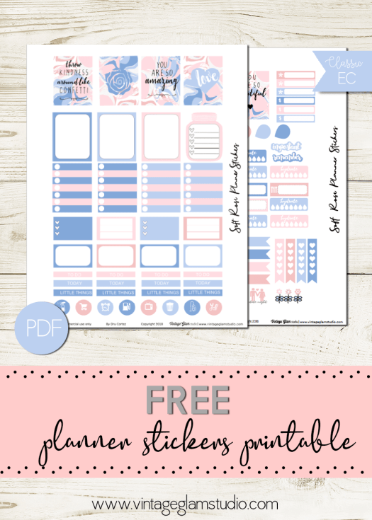 Soft Rose | free planner stickers printable, for personal use