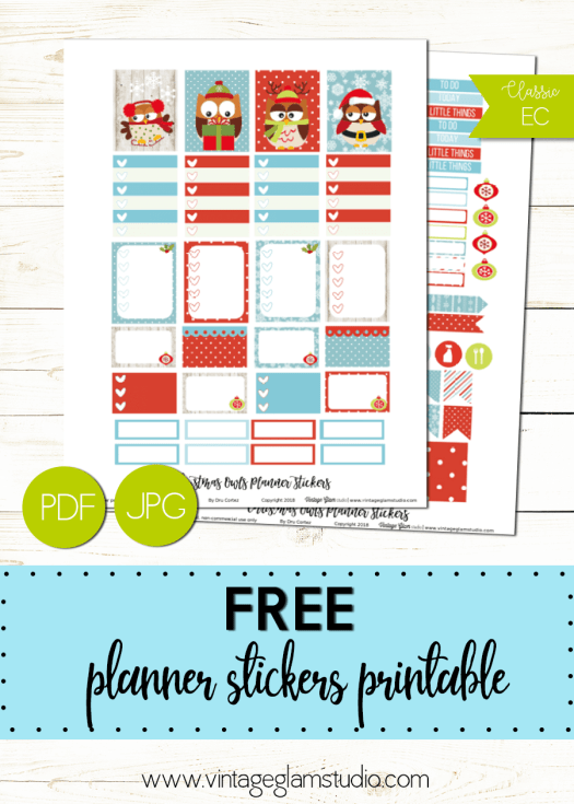 Christmas Owls | planner stickers printable