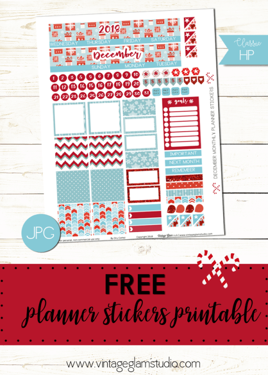 December monthly planner stickers printable