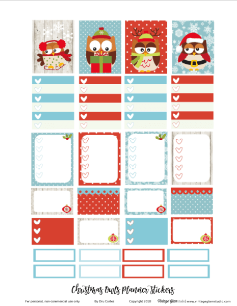 christmas planner stickers printable