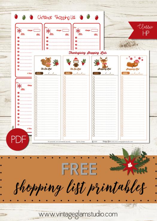 xmas shopping lists printable