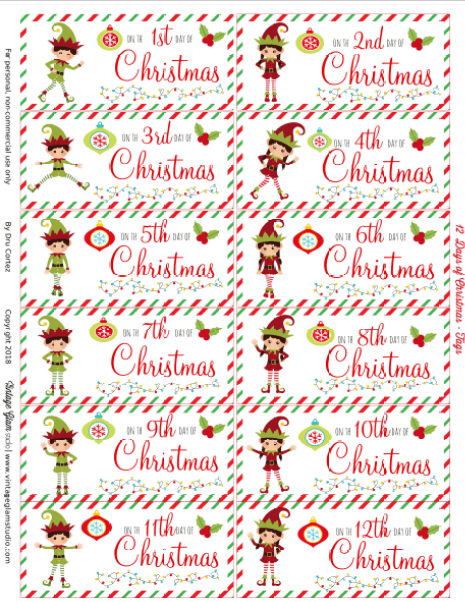 photograph relating to 12 Days of Christmas Printable Tags identify 12 Times of Xmas Present Tags - Free of charge Printable - Common