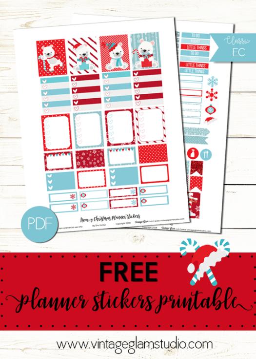 Beary Xmas, free planner stickers printable